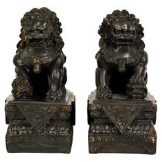 Male & Female Chinese Foo Dog Decor (Set of 2) Also called Chinese guardian lions or Imperial guardian lions.