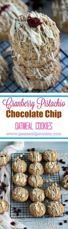 Cranberry Pistachio Chocolate Chip Oatmeal Cookies - Chewy, dense and with so many textures and topped with a drizzle of white chocolate these Cranberry Pistachio Chocolate Chip Oatmeal Cookies are fabulous. Add these to your Christmas baking list! Peas and Peonies