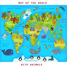 Map of world with animals Royalty Free Vector Image Tier Wallpaper, Animal Wallpaper, Free Vector Images, Vector Free, Learning English For Kids, Library Images, Cartoon Pics, Animals Of The World, Art Pages
