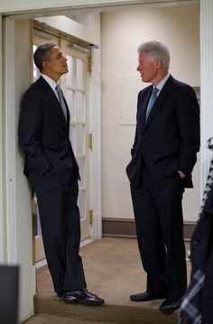 The Presidents: Barack Obama and Bill Clinton.
