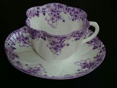 Pretty vintage 'Shelley' English china tea cup & saucer at Rose cottages and gardens