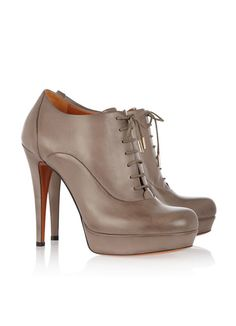 Gucci Lace-up leather ankle booties Platform Ankle Boots, High Heel Boots, Leather Ankle Boots, Ankle Booties, Heeled Boots, Bootie Boots, Shoe Boots, High Heels, Grey Booties