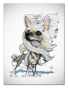 Chinese Crested Art Print - Gone Boating – JohnLaFree.com