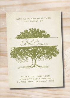 Oak Tree, Tree of Life Sympathy, Memorial, Funeral Thank You Notecards - Printable File    >>> HOW IT WORKS <<<  Once an order is placed we