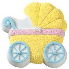 This adorable carriage baked in our Baby Buggy Pan makes an enticing centerpiece. Use a unisex color scheme of yellow, blue, and pink to cover both newborn-gender possibilities.