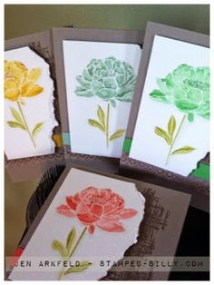 Stampin' Up! hand crafted card set fromStamped Silly: Creation Station ... You've Got This in new colors ...painted with inks and aqua painter ...