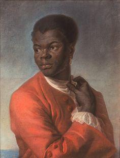 Maurice Quentin de La Tour, Jeune Noir rattachant le bouton de sa chemise (1741)