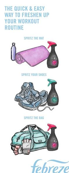 Wanna know the easiest way to keep your yoga mat, gym bags, and sneakers clean? Spray them down with Febreze Unstopables Fabric Refresher between every workout.