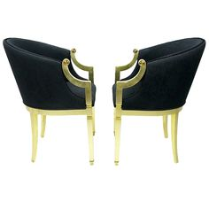 Pair Gilt Frame U0026 Black Upholstered Barrel Chairs