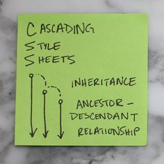 Cascading Style Sheets Operate on Inheritance  Will use this with when teaching a front-end dev person. Intern?  Have a portfolio of little front-end notes