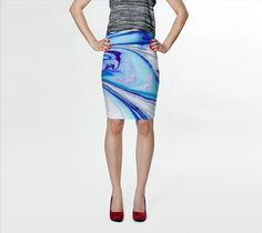"Fitted Skirt ""Blue Purple Marble Abstract - Pencil Skirt"" by Jenny Mhairi"
