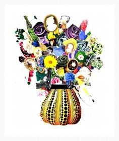 Flowers in Yayoi Kusama Vase with Star 30M | DegreeArt.com The Original Online Art Gallery