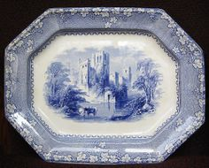Pastoral Scene Cows blue and white Staffordshire transferware platter, by John Alcock in the Priory pattern. 1853-1861