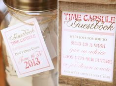 "I really want to do a wedding time capsule. Not necessarily for the next year. But I was thinking people could write down marriage advise or whatever on little cards, we could put a bottle of our favorite wine (the Moscato wine from Olive Garden), and a copy of our vows. Then when we have our first big fight or the ""7 year itch,"" whichever comes first, we'd open it and remember..."