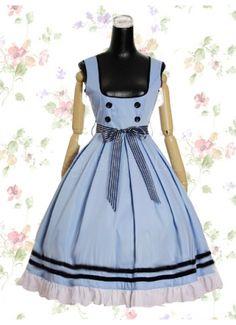 Sweet Low Cut Empire Tea-length Sash Cotton Lolita Dress With Vertical Pleats