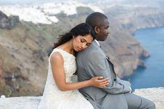 Elegant destination wedding in Santorini, Greece.