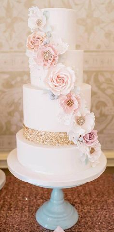 Pink Wedding Cakes - Here is today's top featured wedding cake inspiration for you to get inspired. Metallic Wedding Cakes, Pink And Gold Wedding, Cool Wedding Cakes, Elegant Wedding Cakes, Beautiful Wedding Cakes, Wedding Cake Designs, Beautiful Cakes, Floral Wedding, Blush Pink Wedding Cake
