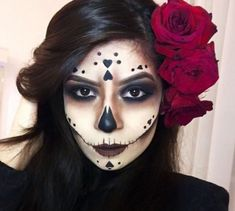 Como fazer maquiagem de caveira mexicana Sugar Skull Halloween, Cute Halloween Makeup, Halloween Skull, Halloween Make Up, Halloween Costumes, Vintage Halloween, Dead Makeup, Sugar Skull Makeup, Costume Makeup