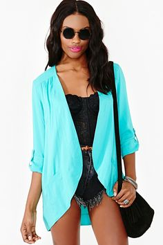 Boardwalk Blazer in Teal #nastygal love the color and the style! my other blazers aren't  as relaxed as this