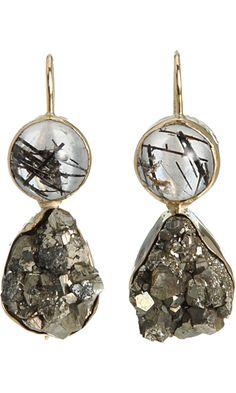 Sandra Dini Black Rutilated Quartz & Pyrite Earrings