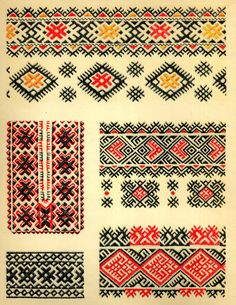 ukrainian folk embroidery: Ukrainian Folk Embroidery, I. F. Krasyts'ka, 1960, plate 2 Poltava Oblast, plate 3 Chernyhiw Oblast, plate 4 Vynnitsia and Khmel'nytsky oblasts