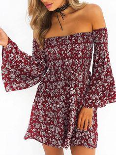 76b398ac63b30 #ad Burgundy Stretch Off Shoulder Floral Flared Sleeve Mini Dress. Price:  $17.99.