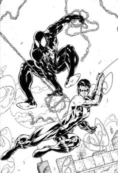 A shot of Nightwing & Spiderman by Brett Booth