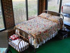"""""""THIS A VINTAGE METAL BED.  THE FIRST BED MY PARENTS BOUGHT, THEY MARRIED IN DEC 1927.  MY MOTHER MADE THE YO YO BEDSPREAD AND THE CRADLE WA..."""