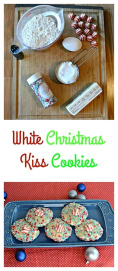 Check out my White Christmas Kiss Cookies made with sugar cookie dough, sprinkles, and a white chocolate peppermint kiss! Christmas Kiss, White Christmas, Cookie Recipes, Dessert Recipes, Sweet Desserts, White Chocolate Candy, Peanut Butter Blossoms, Kiss Cookies, Sugar Cookie Dough