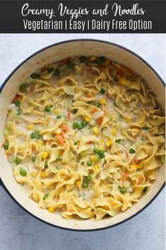These creamy veggies and noodles are a tasty weeknight meal! Made with egg noodles, vegetables, and a creamy sauce, you'll have dinner ready in no time. Egg Noodle Recipes, Soup Recipes, Cooking Recipes, Recipes Dinner, Pasta Recipes, Vegetarian Dinners, Vegetarian Recipes, Going Vegetarian, Vegetarian Options