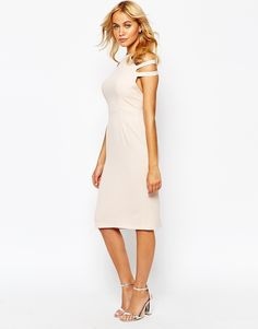 Polyester-Love Pleated Pencil Dress With Cut Out Shoulder
