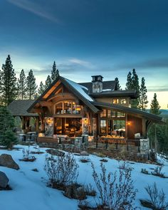 Mountain modern home in Martis Camp with indoor-outdoor living - Lodge style home blends rustic-contemporary in Martis Camp Best Picture For home decor signs For - Modern Mountain Home, Mountain Homes, Lodge Style, Log Cabin Homes, Log Cabins, Rustic Contemporary, Dream House Exterior, Cabins And Cottages, Indoor Outdoor Living
