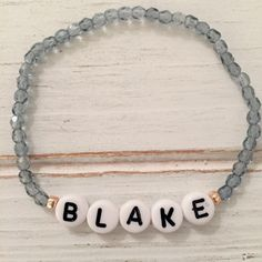 Custom name beaded bracelet; name bracelet; friendship bracelet by LindsayRaeDesigns on Etsy https://www.etsy.com/listing/497494537/custom-name-beaded-bracelet-name