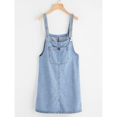Pinafore Denim Dress With Pockets (57 ILS) ❤ liked on Polyvore featuring dresses, jean, blue, knee length shift dress, sleeved dresses, knee length dresses, pinafore dress and sleeveless dress