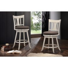 Tabib White Fabric Swivel Bar Chair | Overstock.com Shopping - The Best Deals on Bar Stools