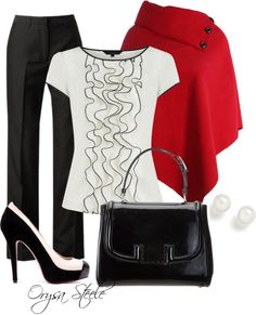 Love this ensemble with a pop of red!