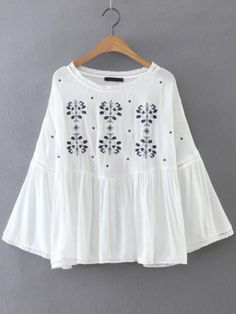 ~ White Embroidery Bell Sleeve Blouse ~ us.shein.com