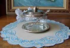 Vintage Jam Pot with Silver Plate Lid Tray and by cynthiasattic, $19.00