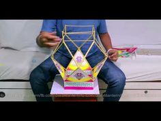 how to make aakash kandil easily for diwali 2017 Diwali lantern Diwali Craft, Diwali Diy, Diwali Lantern, Diwali Decorations At Home, Craft From Waste Material, Traditional Lanterns, Clay Wall Art, How To Make Lanterns, Newspaper Crafts
