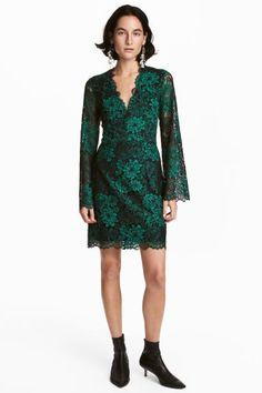 Kanten jurk met V-hals - Groen - DAMES | H&M NL 1
