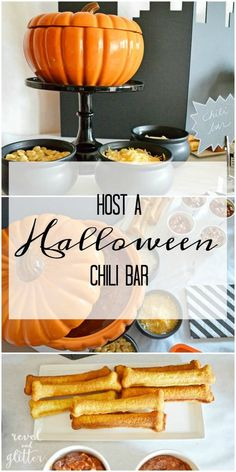 Halloween Chili Bar Party Ideas - Moms & Munchkins Halloween Chili Bar - a delicious family or party dinner idea for Halloween night! An easy Halloween food idea that can be customized for all your guests. Easy Halloween Food, Halloween Appetizers, Halloween Food For Party, Halloween Treats, Halloween Night, Halloween Makeup, Halloween Costumes, Halloween Decorations, Women Halloween