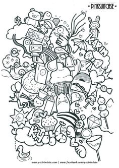 Doodle Wall, Cute Doodle Art, Doodle Art Designs, Doodle Art Drawing, Doodle Sketch, Cute Art, Kawaii Doodles, Cute Doodles, Colouring Pages