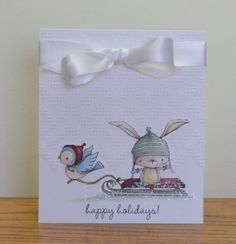 Happy holidays card by Paula Williamson.  Stacey Yacula Studio stamps from Purple Onion Designs.