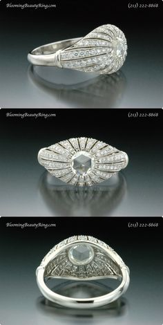 Stunning Antique Style Diamond Ring featuring an amazing Rose Cut Antique Cut Diamond!  http://www.BloomingBeautyRing.com  (213) 222-8868