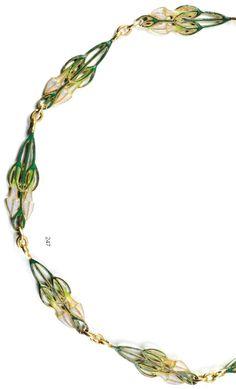 Lalique Chain: gold/plique-à-jour enamel. The plaques are designed with floral motifs, signed Lalique, early 20th c.