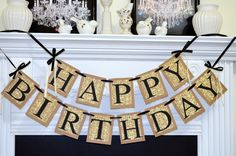 HAPPY BIRTHDAY Banner, birthday party decorations, Damask Birthday Sign, Adult unisex birthday banner, birthday decorations - pick the color