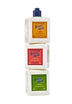 These playful L'Occitane Bonne Mere Shower Gels will cheer up even the most plain Jane bathroom. Each nozzle fits in the bottom of another bottle, so they're stackable, and the scents--Honey, Peach, and Olive, all sourced from the South of France--are divine! (Also available in Rosemary and Lemon.)