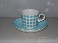 ARABIA TURKOOSI POP KAHVIKUPPI + TASSI Coffee Cups, Tea Cups, Vintage Dishes, Marimekko, Finland, Pottery, Clay, Retro, Tableware