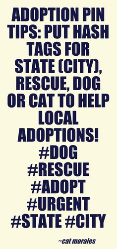 ANIMAL ADOPTION TIPS:   1) Animal type (dog, cat, breed, sex, etc) 2) location (State, City) 3) Contact Info (Shelter, website link, public phone) (DO NOT recommend emails/spambots follow) 4) Date (Good for Urgent Alerts and avoids outdated pins)  5) Use # tags for more viewing possibilities! #animal #rescue #tips  I used Pinstamatic to create this tip (http://pinstamatic.com)