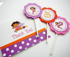 thank you note - I like the polka dot strip at the bottom, use scrapbook paper from party pack? 3rd Birthday, Happy Birthday, Birthday Parties, Thank You Notes, Thank You Cards, Amelia Bedelia, Polka Dot Party, Dora The Explorer, Party Packs